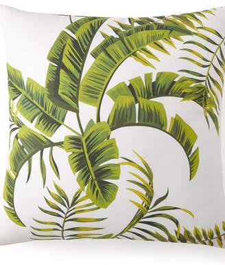 Flower Of Paradise Euro Sham - White Background, Green Leaf Bedding