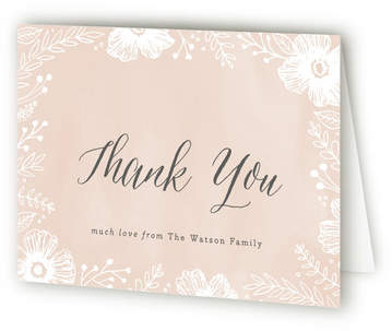 Peach Blossoms Birth Announcements Thank You Cards