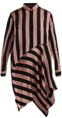 Marques Almeida Marques'almeida - Striped Asymmetric Satin Shirtdress - Womens - Black Pink