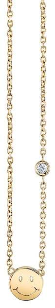 SHY BY SE 14K Yellow Gold Plated Sterling Silver Diamond Happy Face Pendant Necklace - 0.015 ctw