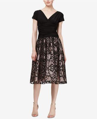 Sl Fashions Glitter-Applique Fit & Flare Dress