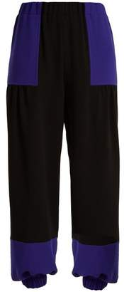 Duro Olowu - Contrast Panel High Rise Crepe Trousers - Womens - Black Blue