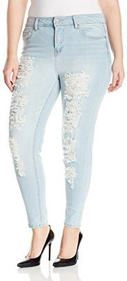 dollhouse Women's Plus-Size Avenue Rip and Repair Destructed Roll Cuff Crop Jean $46 thestylecure.com