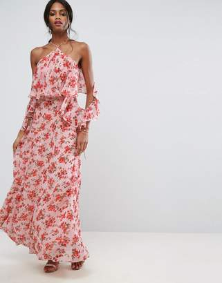 Asos Design Beautiful Floral Ruffle Front Maxi Dress