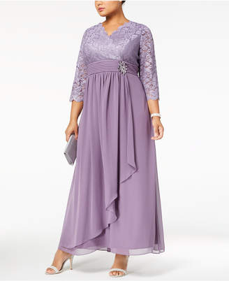 Alex Evenings Plus Size Embellished Lace Gown
