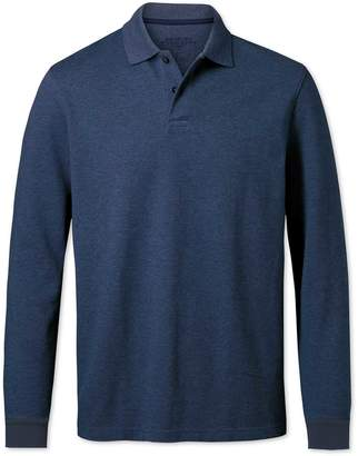 Charles Tyrwhitt Indigo Melange Pique Long Sleeve Cotton Polo Size Small