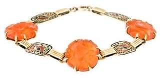 14K Carnelian & Enamel Link Bracelet