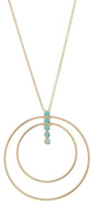 Argentovivo 18K Gold Plated Sterling Silver Sky Blue CZ Layered Circle & Bar Pendant Necklace