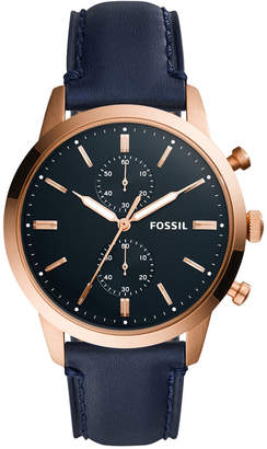Fossil Mens Townsman Navy Leather Strap Watch FS5436