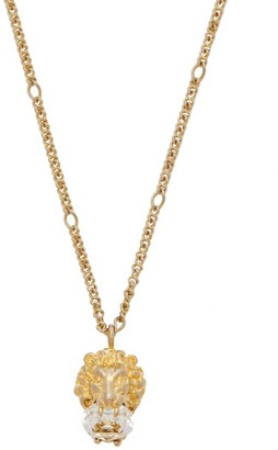 Gucci Lion Crystal Embellished Necklace - Womens - Gold