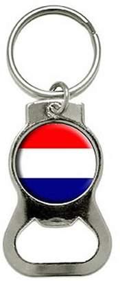 Generic Netherlands Holland Flag Bottle Cap Opener Keychain Ring