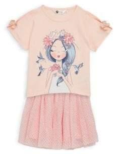 Petit Lem Little Girl's Graphic Tee & Skirt Two-Piece Set