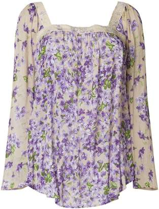 Twin-Set sheer floral long-sleeve blouse