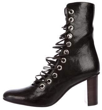 Marques Almeida Marques' Almeida Patent Leather Lace-Up Ankle Boots