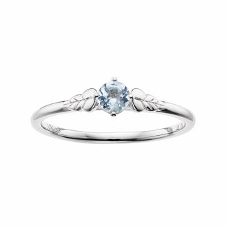 LC Lauren Conrad 10k White Gold Blue Topaz Leaf Ring $350 thestylecure.com