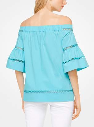 MICHAEL Michael Kors Eyelet Cotton-Poplin Off-the-Shoulder Top