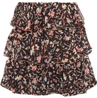 IRO Ruffled Printed Georgette Mini Skirt - Black