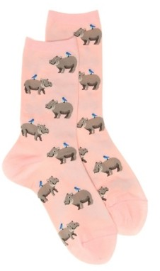 Hot Sox Hippo Women's Crew Socks