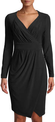 Donna Karan Pleated Surplice-Neck Faux-Wrap Dress