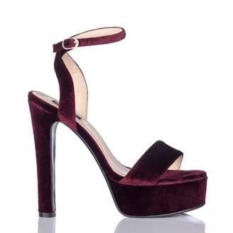 Nissa - Bordo Velvet Sandals with Strap