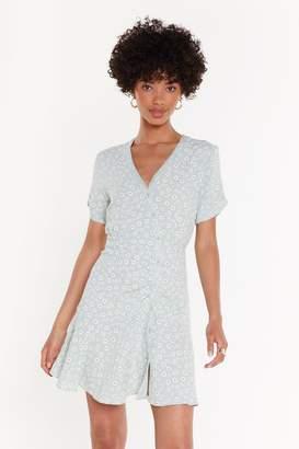 Nasty Gal Puff Print Daisy Button Mini Tea Dress