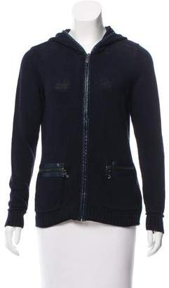 Magaschoni Hooded Zip-Up Cardigan