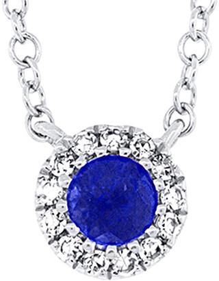 Diana M Fine Jewelry 14K 0.18 Ct. Tw. Diamond & Blue Sapphire Necklace