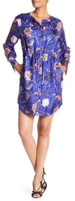 Diane von Furstenberg Long Sleeve Cinched Waist Shirt Dress