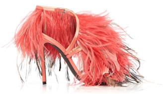 Giambattista Valli Ostrich Feather-Embellished Leather Sandals