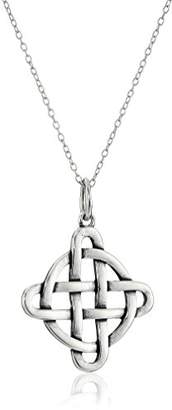 Celtic Rhodium Plated Sterling Silver Oxidized Pendant Necklace