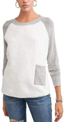 Poof! Juniors' Sherpa Color Block Raglan Sleeve Pullover Sweatshirt
