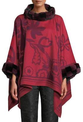 Etro Scroll Paisley Cashmere Poncho with Fur Trim, Black