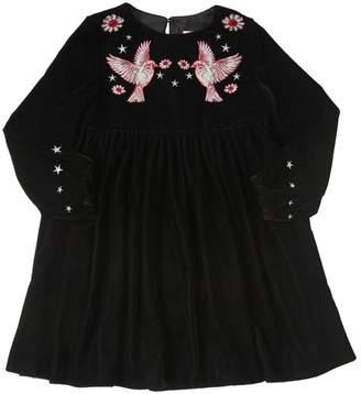 Stella McCartney Hummingbirds Embroidered Velvet Dress