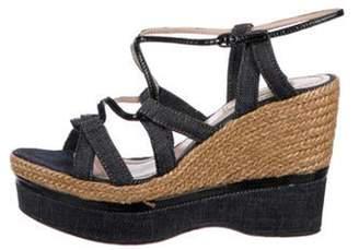 Nina Ricci Denim Wedge Sandals Blue Denim Wedge Sandals