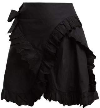 Isabel Marant Ãtoile Atoile - Milou Broderie Anglaise Ruffled Wrap Skirt - Womens - Black