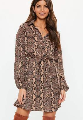 Missguided Brown Snake Tie Waist Long Sleeve Shirt Dress