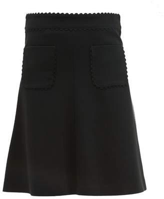 RED Valentino Scalloped Edge Crepe Skirt - Womens - Black