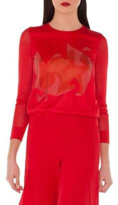 Akris Long-Sleeve Double-Layer Intarsia Silk-Blend Top