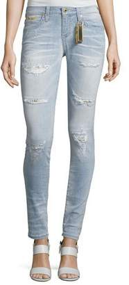 Robin's Jeans Marilyn Distressed Studded Denim Jeans, Light Blue