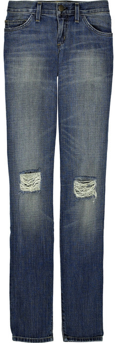 Current/Elliott Low-rise shredded skinny jeans