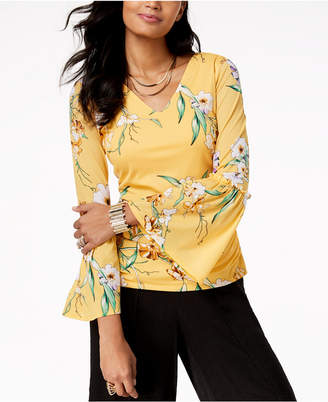 Thalia Sodi Ruched Printed Bell-Sleeve Top, Created for Macy's
