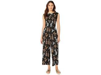 Angie Floral Sleeveless Jumpsuit with Tie Down Women's Jumpsuit & Rompers One Piece