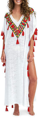 Pitusa Tribal V-Neck Tassel Long Coverup Kaftan