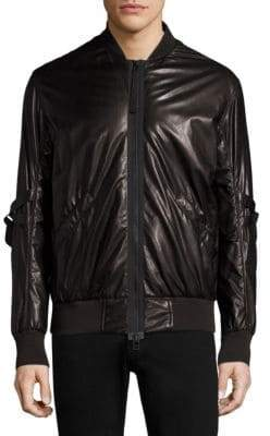 Helmut Lang Stand Collar Leather Bomber