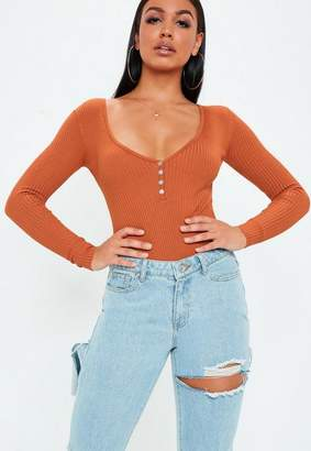 Missguided Rust Plunge Button Up Ribbed Knit Bodysuit