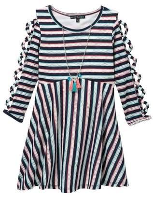 672e98f800a My Michelle mymichelle Lattice Sleeve Striped Dress   Necklace (Big Girls)