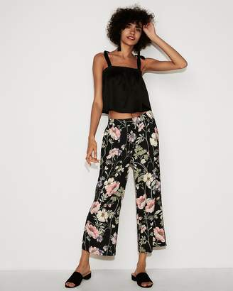 Express Mid Rise Floral Pull-On Cropped Pant