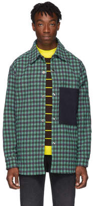 Acne Studios Green and Purple Plaid Wool Overshirt