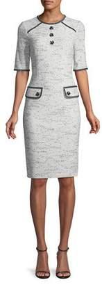 Rickie Freeman For Teri Jon Tweed Stretch Boucle Knee-Length Dress