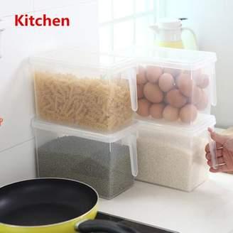 Generic 2PCS Kitchen Refrigerator Food Storage Box Case Container Organizer Sealed Plastic Crisper with Handle + Lid